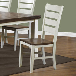 Monarch Specialties - Monarch Specialties Antique White & Oak Side Chair - Set of 2 - Add country warmth to your dining area with these transitional dining chairs. The two tone color pallet consisting of antique white paired with contrasting oak perfectly match the dining table and add to the undeniable appeal of this set. The ladder back design and scooped seating ensures will keep you dining comfortably for years to come.