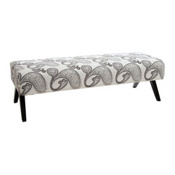 Great Deal Furniture - Maya Grey and White Fabric Bench - With its sturdy build and padded top, The Maya Grey and White Fabric Bench is great for small spaces. It provides additional seating and its style and simplicity can work for any home or office.