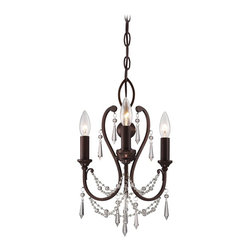 "Minka Lavery - Minka Lavery 3138-284 Vintage Bronze 3 Light Mini Crystal Chandelier - 11.5"" W x 16.5"" H"