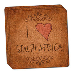 """Made on Terra - I Heart Love South Africa Vintage Thin Cork Coaster Set of 4 - You're just cleaning up after your epic party when you realize it... something's different. Unlike all those other times, you're not mopping up cup condensation from your counters and tables. This time, everyone used a coaster. Everyone. Maybe it's because you handed out a coaster with every glass. No. You've tried that before. No, this time it's because of the actual coasters. You found the cutest Made On Terra printed cork coasters. You love that everyone commented on how unique they were,  from the light-weight, thin cork material to the printing that creates a cool and subtle effect. Plus, they're really absorbent, but dry quickly. And they're made from an eco-friendly, sustainable resource, so that makes you feel pretty great, too. Choose from Made on Terra's many fabulous cork coasters. Measures 4"""" x 4"""" x 1/8"""". Made of thin cork. Super cute and nicely absorbent. Sold in sets of four."""