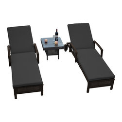 Reef Rattan - Reef Rattan 3 Pc Islander Chaise Lounger Set Chocolate Rattan / Grey Cushions - Reef Rattan 3 Pc Islander Chaise Lounger Set Chocolate Rattan / Grey Cushions. This patio set is made from all-weather resin wicker and produced to fulfill your needs for high quality. The resin wicker in this patio set won't fade, shrink, lose its strength, or snap. UV resistant and water resistant, this patio set is durable and easy to maintain. A rust-free powder-coated aluminum frame provides strength to withstand years of use. Sunbrella fabrics on patio furniture lends you the sophistication of a five star hotel, right in your outdoor living space, featuring industry leading Sunbrella fabrics. Designed to reflect that ultra-chic look, and with superior resistance to the elements in a variety of climates, the series stands for comfort, class, and constancy. Recreating the poolside high end feel of an upmarket hotel for outdoor living in a residence or commercial space is easy with this patio furniture. After all, you want a set of patio furniture that's going to look great, and do so for the long-term. The canvas-like fabrics which are designed by Sunbrella utilize the latest synthetic fiber technology are engineered to resist stains and UV fading. This is patio furniture that is made to endure, along with the classic look they represent. When you're creating a comfortable and stylish outdoor room, you're looking for the best quality at a price that makes sense. Resin wicker looks like natural wicker but is made of synthetic polyethylene fiber. Resin wicker is durable & easy to maintain and resistant against the elements. UV Resistant Wicker. Welded aluminum frame is nearly in-destructible and rust free. Stain resistant sunbrella cushions are double-stitched for strength and are fully machine washable. Removable covers made with commercial grade zippers. Tables include tempered glass top. 5 year warranty on this product. PLEASE NOTE: Throw pillows are NOT included. Chai