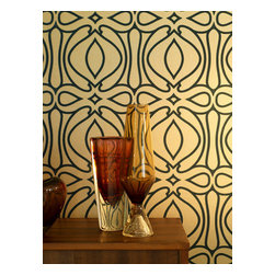 "Graham & Brown - Baroque Wallpaper - The Baroque design epitomizes Barbara's signature design style and her Art Deco influences but with a modern twist. Barbara explains, ""With this design we used a really rich colour palette to create a Victorian inspired geometric which is a good contrast with Mid-Century modern."" PLEASE NOTE: A wheat based paste should be used for flocked wallpapers or the paper could be damaged. We also recommend that a professional hanger install this paper."