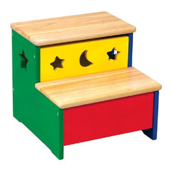 Guidecraft - Guidecraft Moon & Stars Storage Step-Up - Cheerful primary colors and whimsical moon and star cut-outs highlight this fun and versatile collection. Solid rubberwood steps with smooth, round edges. Features storage beneath the top step.