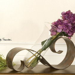 Contemporary Curl, Vase - Antiqued mahogany hand forged metal with black and light gray distressing and a clear glass vase. Flowers not included.