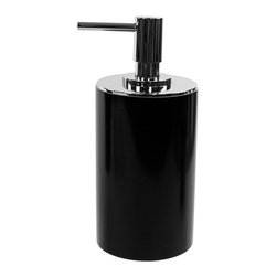Gedy - Round Free Standing Soap Dispenser in Resin, Black - Part of the Gedy Piccollo collection, this free stand soap dispenser is essential to keep soap handy at all times.