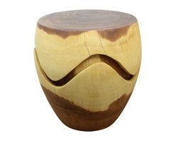 Kammika - Barrel Puzzle Drum 18 D x 18 H x 16 T x 10 inch Base w Livos Eco Frdly Clear Oil - This versatile Sustainable Monkey Pod Wood Barrel Puzzle Drum End Table 18 inch Diameter x 18 inch Height (10 inch Base - 16 inch Top) with Eco Friendly, Natural Food-Safe Livos Clear Oil Finish looks great alone or in pairs. It looks like it is joined from two separate pieces, but is really one solid piece. The almost symmetrical wavy line gives the sense you could lift the top off into two pieces. Our Barrel Puzzle Drum is a fun piece that tapers from its top to its base, just like its namesake; use it as end or coffee tables or as a stool. Each is hand carved from a single piece of Monkey Pod wood and finished with Eco Friendly Livos Clear Oil; they are appealing to the viewer from any angle. Each piece is a Work of Art! Craftspeople from the Chiang Mai area in Northern Thailand create these one-of-a-kind pieces with the simplest of tools. After each Monkey Pod Wood (Acacia, Koa, Rain Tree grown for wood carving) piece is kiln dried, carved and sanded, it is rubbed in Livos Clear Oil creating a highly water resistant and food safe finish. This natural oil is translucent, so the wood grain detail is highlighted; this is then polished to a matte finish. There is no oily feel and cannot bleed into carpets, as it contains natural lacs. No chemicals are used in the process, ever. This piece is packaged with cartons from recycled cardboard with no plastic or other fillers; and is made from the thick branches of the quick-growing Acacia tree in Thailand - where each branch is cut and carved to order (allowing the tree to continue growing.) The color and grain of your item will be unique, and may include small checks or cracks that occur when the wood is dried. Sizes are approximate. Products could have visible marks from tools used, patches from small repairs, knot holes, natural inclusions, and/or worm holes. There may be various separations or cracks on your piece when it arrives. There may be some slight variation in size, color, texture, and finish color.Only listed product included.