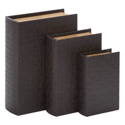 Benzara - Library Storage Books - Wood Leather Box - Set of 3 13in., 11in., 8in.H - Set of 3 _ 13 in. , 11 in. , 8 in.  H Wooden Box Leather Lining