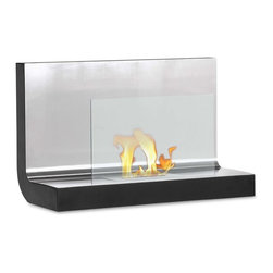 Wall Mount Ethanol Fireplace - Ferrum - Sleek lines, all stainless steel top plate, beautiful and safe glass shield and put all that on a sturdy powder coated frame you get the Ferrum. With the included mounting bracket you can be enjoying this ethanol fireplace minutes after opening the box.