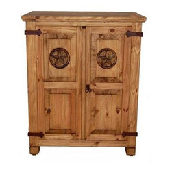 Million Dollar Rustic - Small Armoire w Star Carving - Space saver and storage. Three removable shelves. Warranty: One year. Made from white pine. Inside: 33 in. W x 23 in. D x 39 in. H. Overall: 39 in. W x 25 in. D x 48 in. H (75 lbs.)
