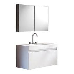"""Fresca - Fresca Mezzo White Vanity w/ Medicine Cabinet - Dimensions of vanity:  39""""W x 18.63""""D x 21.5""""H. Dimensions of medicine cabinet:  39.5""""W x 26""""H x 5""""D. Materials:  MDF with acrylic countertop/sink with overflow. Nested drawer storage system (Soft closing drawers). Widespread faucet mount (8""""). P-trap, faucet, pop-up drain and installation hardware included. This vanity is striking in its simplicity. It features a beautiful widespread chrome faucet. Don't forget to check under the hood with the innovative storage system that includes a nested drawer. It also features a medicine cabinet that can be either wall mounted or recessed into a wall. The Mezzo is a larger version of the Nano Vanity."""