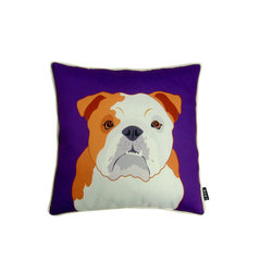 Bulldog! 18X18 Pillow (Indoor/Outdoor) - 100% polyester cover and fill.  Suitable for use indoors or out.  Made in USA.  Spot Clean only