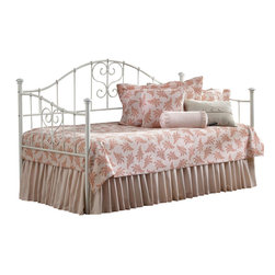 Hillsdale Furniture - Lucy Daybed w Suspension Deck in White Finish - Includes bed frame and suspension deck. Trundle sold separately. Mattress not included. Heart-shaped scrollwork. Threaded spindles. Daybed: 80 in. L x 40.5 in. W x 47.5 in. H. Suspension deck: 76 in. L x 39 in. W. Optional trundle: 73.15 in. L x 39.25 in. W x 4 in. HHillsdale Furniture's Lucy daybed is charming and whimsical. The simple White finish perfectly complements the flourished heart-shaped scrollwork and threaded spindles. A lovely addition to any home, the Lucy daybed is an especially wonderful option for a young girl's bedroom. Add the optional trundle for sleepovers.