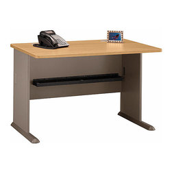 Bush Business - 48 in. Desk in Light Oak - Series A - When space is tight, economize with, our 48 in.  Desk topped with a simply handsome Light Oak desktop.  You can add a hutch, a sliding keyboard shelf, and a pencil drawer.  Ideal for students, it can serve well as the centerpiece of your home office.  To add even more functionality, incorporate a top hutch, sliding keyboard, and pencil drawer to help you organize your work. * When space is tight, economize with, our 48 in. Desk topped with a simply handsome Light Oak desktop. You can add a hutch, a sliding keyboard shelf, and a pencil drawer. Ideal for students, it can serve well as the centerpiece of your home office. 47.48 in. W x 26.811 in. D x 29.764 in. H