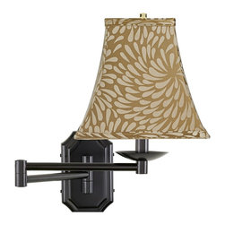 "Lamps Plus - Traditional Bronze Chrysanthemum Square Shade Dark Bronze Wall Lamp - Swing arm wall lamp.Dark bronze finish.Bronze chrysanthemum floral square lamp shade.Plug-in.Takes one 60 watt bulb (not included).Backplate is 4 1/4"" wide 7"" high.Extends 21 1/2"" from the wall.Shade is 5 1/4"" across the top 10"" across the bottom 9 1/2"" high.  Swing arm wall lamp.  Dark bronze finish.  Bronze chrysanthemum floral square lamp shade.  Plug-in.  Takes one 60 watt bulb (not included).  Backplate is 4 1/4"" wide 7"" high.  Extends 21 1/2"" from the wall.  Shade is 5 1/4"" across the top 10"" across the bottom 9 1/2"" high."