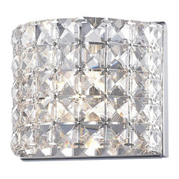 One Light Chrome Bathroom Sconce - A shade of shimmering crystal set upon chrome fixture diffuse and soften the light, to create a one light  fixture with a soft glow and a sophisticated look.