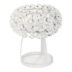 "LexMod - Halo Table Lamp in Clear - Halo Table Lamp in Clear - The circle of revolution displayed by the Halo Series introduces spontaneous brilliance that reflects powerfully throughout any room. Adorning its bearer, the glass globe is a crown of experiential motion.br /Set Includes:br /One - Halo Acrylic Crystal Table Lamp Glass coated in white satin to prevent glare, Sturdy height-adjustable support wires, Uses 3 G9 LED Bulbs, Some assembly required Overall Product Dimensions: 14""L x 14""W x 16""H Cord Length: 92.5""L Lamp Shade Dimensions: 19""L x 19""W - Mid Century Modern Furniture."