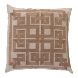 Surya Rugs - Oatmeal Wenge and Kelp Brown Polyester Filled 22 x 22  Pillow - - This trendy design will bring the perfect amount of style to your home. This pillow has a polyester fill and a zipper closure. Made in India with one hundred percent Linen and cotton detail this pillow is durable and priced right  - Cleaning/Care: Blot. Dry Clean  - Filled Material: Polyester Filler Surya Rugs - LD001-2222P
