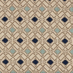 "Close to Custom Linens - 72"" Shower Curtain, Unlined, Hira Indigo Blue Taupe Beige Geometric - Hira is a contemporary small scale geometric in blues and taupe on a neutral beige linen-textured background. Reinforced button holes for 12 curtain rings."