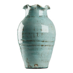 Pottery Vase - Aqua glaze breaks with pleasing unevenness over the dark pottery that lies beneath its soft crackle and glassy sheen, giving a rustic finish to this celadon Pottery Vase. Ruffled at the mouth, swelling gracefully between a narrow neck and a smoothly-tapered base, the shape is cultured - and classic with just - a hint of the sensuous detail that speaks to the artisan's inspiration.