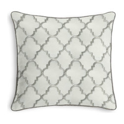 Silver Embroidered Quatrefoil Corded Pillow - Black and white photos, Louis XIV chairs, crown molding: classic is always classy. So it is with this long-time decorator's favorite: the Corded Throw Pillow.  We love it in this classic quatrefoil trellis embroidered in gold on dark beige linen-like ground. every room can use a little glitz and glamour!