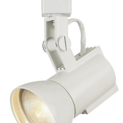 """WAC - WAC Euro Step White Track Bullet for Lightolier Track System - This WAC Euro step track lighting bullet has a clean look. This fixture has a white die-cast finish and is Lightolier compatible. Also has a heavy spun light shield that is threaded into the cylinder for a perfect fit. Made by WAC for use with Lightolier line voltage track systems. Uses a 50 watt Par 20 bulb (not included). 3 3/16"""" wide. 4 7/8"""" long.  White finish.  Adjustable track light head.  Heavy-spun light shield.  Made by WAC for use with Lightolier line voltage track systems.  Uses a 50 watt Par 20 bulb (not included).   3 3/16"""" wide.   4 7/8"""" long."""