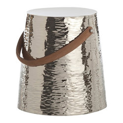 Arteriors - Taylor Stool - This hammered metal, nickel-finished piece is a perfect addition to your modern home, as a stool or accent table. The top-stitched leather handle makes it portable.