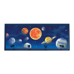 illumalite Designs - Planets Plaque Coat Rack with Pegs - This beautiful space themed plaque with its brightly colored planets is the perfect addition to any child's room. Measuring 10.25 in. by 25 in., this plaque is the ideal way to decorate a child's wall. Features 4 painted wooden pegs to hold anything from coats to backpacks!  The handpainted blue border highlights the beautiful design