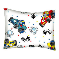 SheetWorld - SheetWorld Twin Pillow Case - Percale Pillow Case - Fun Race Cars - Made in USA - Twin pillow case. Made of an all cotton flannel fabric. Side Opening. Features the one and only fun race cars!