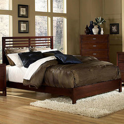 Tribecca Home - TRIBECCA HOME Ferris Collection Queen-size Bed - This European-style Queen bed from the Ferris Collection is perfect for those who like a little room when they sleep. The bed includes a headboard and footboard,all with a modern,cherry finish that will look fantastic in your home.