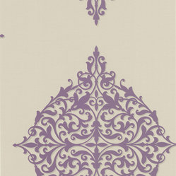 Decorline - Decadence Classical Motif Wallpaper - If your walls could talk, they'd be whispering sweet nothings to this paper. The pattern features oversized, exotic medallions in amethyst and pewter that will bring sexy back to your room in a thoroughly modern way. It has a 25.2-inch repeat and a drop match, and each bolt measures 20.5 inches wide by 33 feet long.