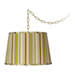 """Lamps Plus - Ribbon Silk 15"""" Wide Brass Swag Style Shaded Chandelier - An beautiful embossed and embroidered ribbon shade is the highlight of this antique brass swag chandelier design. With elegantly draped chain, swag chandeliers bring instant glamour and enduring style. This design features a chartreuse and cream silk shade with embossed and embroidered ribbon pattern with antique brass finish chain and hardware. Plug-in style light comes with an in-line on/off switch and is easy to install. Simply plug the light into any standard wall outlet, hang the cord on the included swag hooks and drape as desired. Can also be converted to hard-wire with included canopy."""
