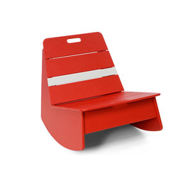 Loll Designs - Loll Designs Apple Red Racer Rocker Chair - This low rocking chair has a funky modern style and bright cherry red color with a bright white stripe that makes it stand out in a room or on a deck. A handle on the backrest of the side chair makes it easy to move around with the arrangement of your outdoor space, and its casual structure brings cheerful simplicity to a patio or deck. Bright, bold, youthful - this rocker is a fun piece to accent your contemporary decor.  As a member of the 1% for the planet organization, Loll Design donates 1% of its gross sales to a worldwide network of environmental organizations. Crafted from recycled plasticDurable and weather-resistant for outdoor useEasy assemblyMade in the USAShips in 6 weeks