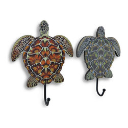 Zeckos - Wooden Sea Turtle Wall Hook Set of 2 - This pair of turtles will quickly become your favorite pair and your go-to spot for hanging your keys, jacket, purse or bag This set of wood turtle shaped single peg wall hooks would look great with beach or underwater themed decor and are perfect for bathrooms, bedrooms or even a closet to hang a purse or spare keys, and their metal tails serve as hangers This set of complementing wall hooks are large enough to stand out at 9 3/8 inches high, 6 3/4 inches wide, 2 3/4 inches deep yet will easily hang on smaller spaced walls. They are easily hung using a single nail or screw using the attached keyhole hanger on the back, and would make a wonderful gift for a turtle loving friend.