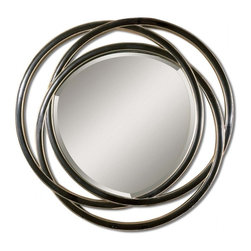 Uttermost - Odalis Matte Black with Silver Leaf Round Mirror - This unusual mirror features a frame made of three entwined circles with a matte black finish with silver leaf inner and outer edges.  Mirror has a generous 1 1/4 inch bevel.