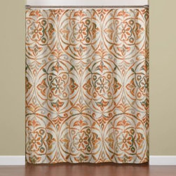 """Saturday Knight Ltd. - Sakura 70"""" x 72"""" Shower Curtain in Orange - The Sakura curtain has a large-scale medallion design in orange and green. It has a touch of far East ambiance."""