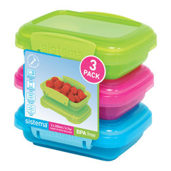 Sistema Klip It 200 ml Container 3 Pack - Great for kids lunch boxes the Sistema Klip It 400 ml containers come 3 to a pack in fun colors that kids will love! Efficient easy opening locking clips plus a rubberized seal ensures that food stays fresher longer. BPA Free made in New Zealand from 100% lead free virgin materials.