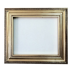 Fancydecor - Decorative Wall Mirror Frame in bright gold leaf bronze with brown 20X24 - GEF 1975 Frame Mirror