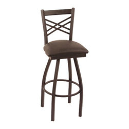 Holland - Holland 30 in. Cambridge X-Back Bar Stool - Black Wrinkle Finish - Black Vinyl S - Shop for Stools from Hayneedle.com! Kick back and relax in the modern stylings of the Holland 30 in. Cambridge X-Back Bar Stool - Black Wrinkle Finish - Black Vinyl Seat. Designed specifically for urban homes or transitional tastes this contemporary stool is as comfortable as it is attractive. It features a cozy vinyl seat and a relaxing swivel function and doesn't have restrictive arms meaning you can enjoy all the spacious seating you love. Complete with a solidly welded frame for lasting support and use. 360 degree swivel. Stool dimensions: 17.5W 17.5D x 44H inches. Please note: This item is not intended for commercial use. Warranty applies to residential use only. About Holland Bar StoolsWith over 25 years of experience in the commercial furniture industry Cambridge Stool Co. was founded on the principles of fine quality craftsmanship and service. As an industry leading manufacturer of upscale commercial quality barstools tables and chairs we use the finest high quality plating grade steel to produce this 30 (bar height) swivel stool to insure a high quality and long lasting finish. Seats are covered in a durable leather-like vinyl. This stool comes with a 5 year residential warranty that covers any defects in workmanship or materials. There is a Lifetime Warranty on the swivel. Stool Rated for up to 400 lbs. For cleaning use a damp cloth or Formula 409 cleaner. Do not use abrasive cleaners or strong solvents. Made in the USA.