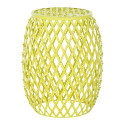 Safavieh - Safavieh FOX4506A Iron Strips Welded Stool - Industrial chic meets the pop coloration of Andy Warhol in the Evan Iron Strips stool.  Thick iron strips are welded together in a bold, classic diamond pattern that boasts a bright neon yellow hue.  It is perfect as an accent piece, but not afraid to sta