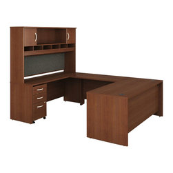 """BBF - Bush Series C 5-Piece U-Shape Computer Desk in Mahogany - Bush - Office Sets - WC36736PKG3 - Bush Series C 48"""" Return Bridge in Mahogany (included quantity: 1) The Bush Series C Return Bridge offers you a refined approach to expanding your workspace. This fine return bridge offers a large work surface in performance-enhanced melamine that resists scratches and stains.  Features:"""