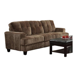 Coaster - Coaster Hurley Tufted Sofa in Mocha Velvet - Coaster - Sofas - 503531 - With enough space to seat three comfortably, this transitional sofa features a soft cushioned comfort with an up-to-date style. Crafted to reflect a soft urban vibe, this piece features clean frame lines with smooth track arms and tufted seat cushions. Plush foam padding creates casual comfort that is perfect for use in living rooms and family rooms. Complete with sleek tapered legs, this piece pairs nicely with casual, contemporary and transitional styled rooms.