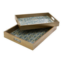 Wood Trays Graphic Pattern - Set of 2 - *With blue toned woven mendong interiors, this set of two Geneva trays feature unique pattern and a glass insert.