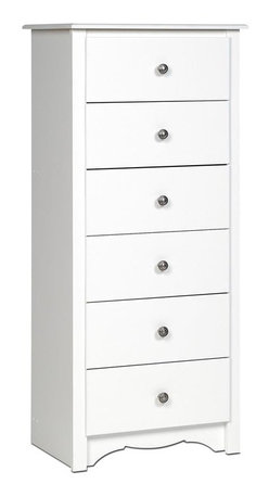 Prepac - 6-Drawer Tall Chest in White Finish - Includes a tipping restraint. Curved top edges and side moldings. A scalloped base panel and solid dark pewter knobs. Metal glides with built-in safety stops. Clear lacquered real wood drawer sides. Sturdy MDF backer. Warranty: Five years. Made from CARB-compliant, laminated composite woods. Made in North America. Drawer: 16.5 in. W x 12.5 in. D x 5 in. H. Overall: 23.25 in. W x 16 in. D x 53.25 in. HWho needs a traditionally sized chest when you can have the Monterey Tall 6-Drawer Chest? With six drawers worth of storage, youll have room for your clothing and youll save floor space, too. This slender little number has lots to offer in the looks department, too: with subtle details like a scalloped base panel, this is one chest that truly has it all.