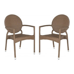 Safavieh - Valdez  Indoor-Outdoor Stacking Arm Chair - The fun creative design of the brown Valdez stacking armchair brings a new level of style to indoor and outdoor guest seating. This sturdy, durable chair with modern round back is sold in sets of two and crafted with easy care, weather resistant PE wicker and aluminum.