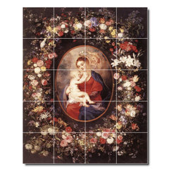 Picture-Tiles, LLC - The Virgin And Child In A Garland Of Flower Tile Mural By Peter Rubens - * MURAL SIZE: 30x24 inch tile mural using (20) 6x6 ceramic tiles-satin finish.