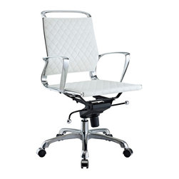 Modway Furniture - Modway Vibe Office Chair in White - Office Chair in White belongs to Vibe Collection by Modway Instill some panache to your office with a chair that says it all. Vibe's modern style reverberates from start to finish. From its diamond patterned leather seat and back, to its high polished chrome frame, if ever there was a chair that turned seating into an artform it would be Vibe. Conveniently adjust your seating position with an easy to use seat tilt lever.The five-star hooded chrome base comes fitted with casters appropriate for any floor. Vibe is also height adjustable with its powerful pneumatic lift. The upward angle of the arms both adds to the distinguished nature of the piece, and helps you properly position your wrists for typing. The chair also comes fully equipped with a tension knob that allows you to personalize the back tilt to fit your particular build and posture. Vibe works just as well in smaller spaces as it does in spacious conference rooms. If you're looking for a modern chair with a bit of vivacity to it, then you've found your match. Set Includes: One - Vibe Modern Leather Midback Office Chair Office Chair (1)