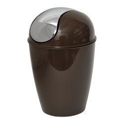 Pp Waste Basket 4.5-Liter/1.2-Gal -Chocolate - This waste basket for bathrooms is made of shiny polypropylene and features a convenient chrome plated finish swing top lid. This versatile flaring shape waste basket brings style to your bathroom and fits easily in any bathroom or under any desk with its capacity of 4.5-Liter/1.2-Gal. Diameter of 8.27-Inch and height of 13.39-Inch. Clean with soapy water. Color shiny chocolate. Keep your bathroom clean in a trendy style with this attractive waste basket! Complete your decoration with other products of the same collection. Imported.
