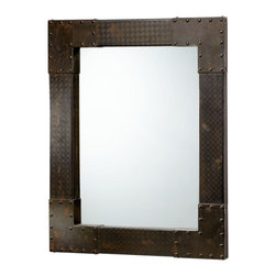 Kathy Kuo Home - LaSalle Industrial Metal Iron Modern Rectangle Wall Mirror - Talk about riveting!  This industrial loft style mirror combines a variety of patterned iron pieces together with tacked edges to create a bold, functional statement.  Perfect for rustic urban spaces.