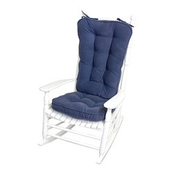 None - Denim Microfiber Reversible Rocking Chair Jumbo-size Cushion Set - Relax in casual comfort with rocking chair cushion set. This set of denim cushions is made out of full-reversible 100 percent nylon microfiber with cushy recycled polyester fiberfill stuffing. Each tufted cushion has string-ties to keep it in place.