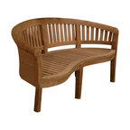 """Anderson Teak - Curve 3 Seater Bench Extra Thick Wood - This beautiful """"curve bench styling"""" is so artistic and unique that has been designed for house or backyard with a lot of curve pattern, the bench will never go out of style, but quietly blends with any d_cor. We have made subtle but careful design changes to ensure excellent back support. Place a single bench under your trees; use a group of benches and chairs for entertaining. Quality built for generations. Cushion is optional and is being made by order."""